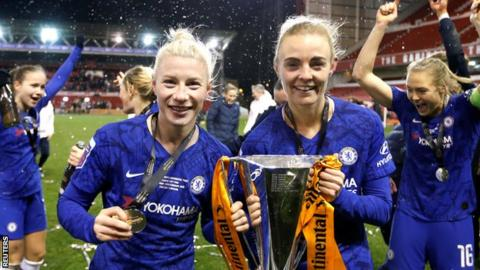 environment Bethany England and Chelsea team-mate Sophie Ingle with the Continental League Cup