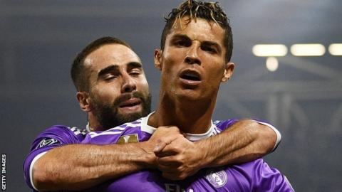 Cristiano Ronaldo celebrates scoring for Real Madrid against Juventus in the Champions League final