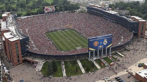 A crowd of 109,000 people watching Manchester United v Real Madrid in Michigan, USA in 2014