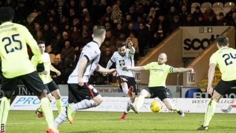 Stelios Demetriou scores his second goal for St Mirren against Hibs