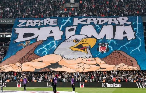 Besiktas fans' 'Tifo' before Saturday's match