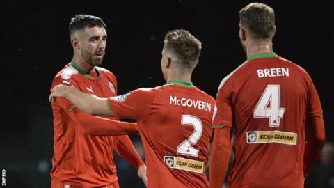 Joe Gormley scored twice as Cliftonville beat Institute 3-0 last time out