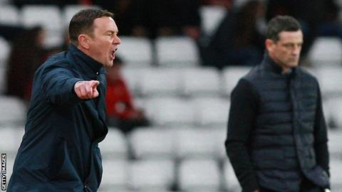 Derek Adams on the touchline with Plymouth Argyle