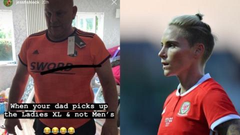 Jess Fishlock's dad in Lyon shirt