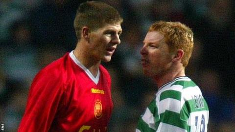 Steven Gerrard in Liverpool colours faces up to Celtic's Neil Lennon