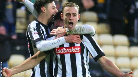Louis Laing celebrates scoring for Notts County