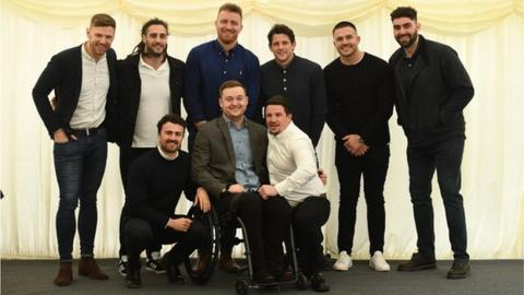 "Owen Williams with Cardiff Blues players who came through the same academy year, pictured at ""Stay Strong for Ows"" annual dinner on 21 February, 2020."