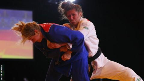 Natalie Powell and Gemma Gibbons compete at the 2014 Commonwealth Games