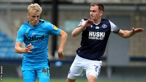 Derby's Louie Sibley (left) and Millwall's Jed Wallace