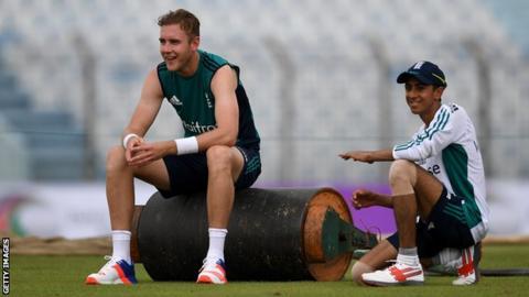 England's Stuart Broad and Haseeb Hameed