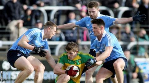 Donegal's Eoghan Ban Gallagher is surrounded by Dublin's John Small, Jack McCaffrey and Eric Lowndes