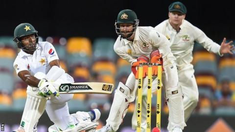 Asad Shafiq (left) in action against Australia