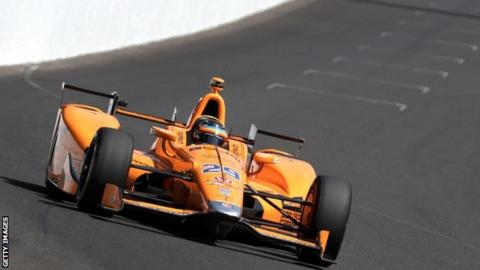 Fernando Alonso driving at the 101st Indianapolis 500 at Indianapolis 2017