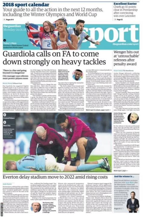 The Guardian lead with Pep Guardiola's call for the FA to deal with heavy tackles
