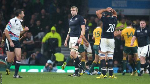 Scotland's World Cup ended in heartache as Australia kicked a controversial late penalty to win 35-34 at Twickenham