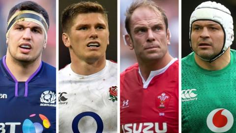 Scotland's Stuart McInally, England's Owen Farrell, Wales' Alun Wyn Jones and Ireland's Rory Best