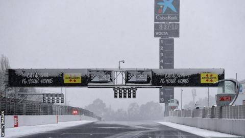 Snow settled on the circuit during day three of winter testing at Circuit de Catalunya