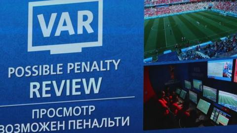 Screens in stadiums told fans when a review of an incident was taking place during the World Cup