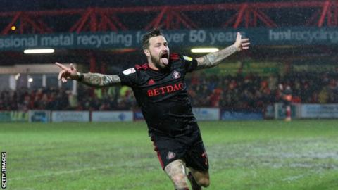 Chris Maguire celebrates a goal for Sunderland at Accrington