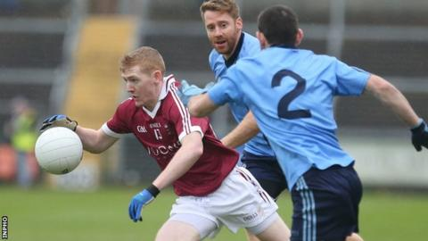 Slaughtneill forward Christopher Bradley moves clear of two Killyclogher opponents in the semi-final