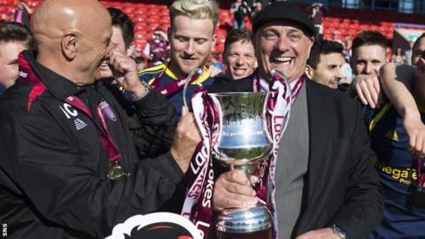 Dick Campbell (right) celebrates Arbroath's Scottish League Two title victory