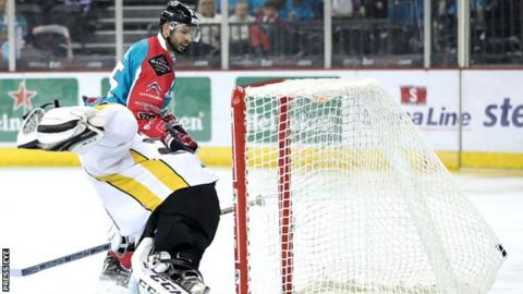 Blair Riley fires into the Panthers net in Belfast's comfortable victory on Friday night
