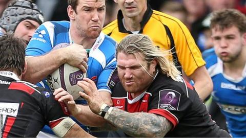 Richard Hibbard tackles Dragons' Adam Warren in April, 2016