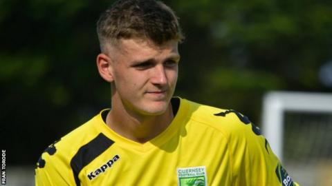 Callum Stanton playing for Guernsey FC