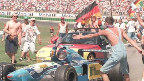 Michael Schumacher wins the 1995 German Grand Prix