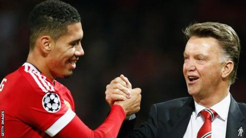 Chris Smalling and Louis van Gaal