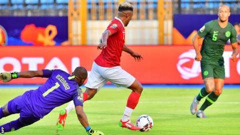 Lalaina Nomenjanahary scores for Madagascar against Nigeria