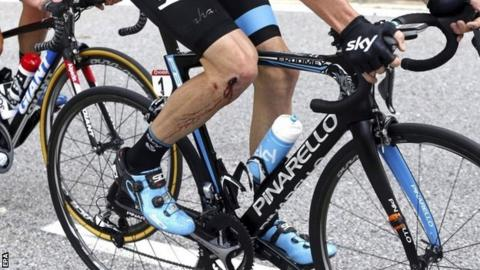 Chris Froome injured his knee during the crash