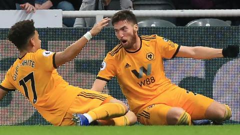Matt Doherty celebrates scoring against Newcastle