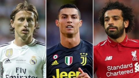 Modric, Cristiano and Salah lead Uefa player of year nominees