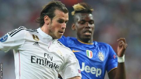 Gareth Bale vies with Paul Pogba during a Champions League semi-final between Real Madrid and Juventus in 2015