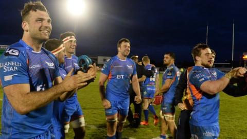 Scarlets players following the win over Connacht