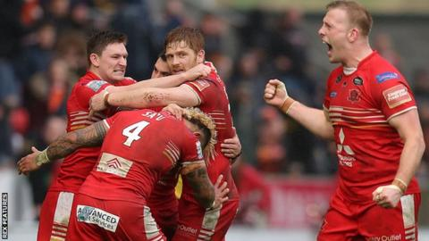 Salford Red Devils celebrate