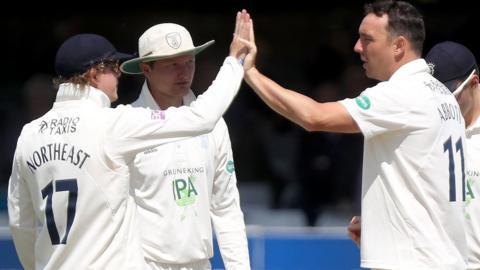Hampshire's Kyle Abbott celebrates a wicket