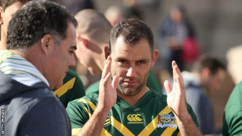 Australia Rugby League coach Mal Meniga (left) speaks to captain Cameron Smith as they prepare for a World Cup on home soil