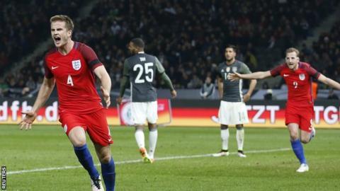 Eric Dier celebrates England's winner