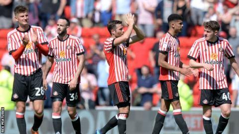 Sunderland players after being relegated