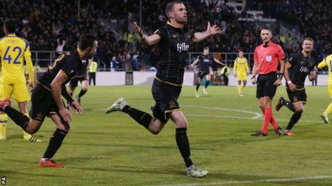 Dundalk forward Ciaran Kilduff runs away in celebration after scoring  against Maccabi Tel-Aviv 1597588e1