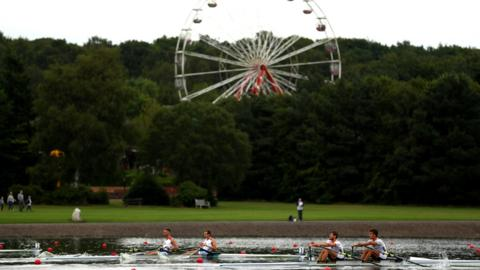 GLASGOW, SCOTLAND - AUGUST 02: A general view during the men's lightweight double sculls heat 1 during the Rowing on Day one of the European Championships Glasgow 2018 at Strathclyde Country Park on August 2, 2018 in Glasgow, Scotland. (Photo by Dan Istitene/Getty Images)
