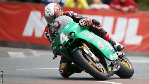 Michael Rutter on the way to winning the Lightweight Supertwins TT on Wednesday