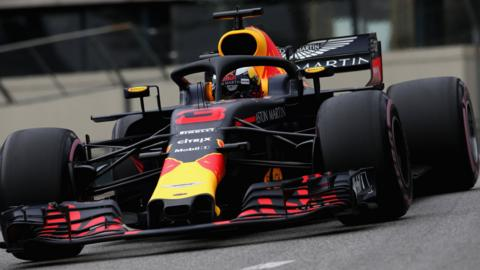 Daniel Ricciardo in action at the Monco Grand Prix