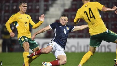 Scot Allan Campbell takes a shot at goal