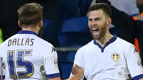 Mirco Antenucci celebrates Leeds' second goal in Cardiff