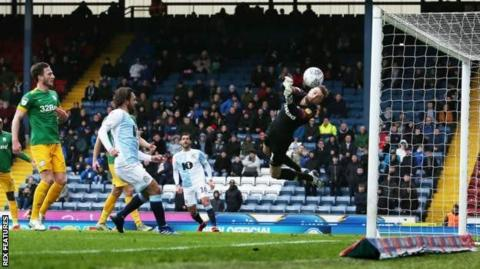 Preston keeper Declan Rudd makes a save during the first half against Blackburn
