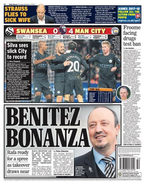 Rafa Benitez planning a spending spree at Newcastle, say the Daily Express
