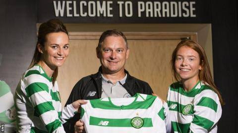 Celtic's Cheryl McCulloch, Eddie Wolecki Black and Colette Cavanagh